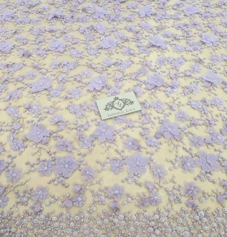 Violets pērļots 3D ziedu raksta mežģīņu audums. Photo 2
