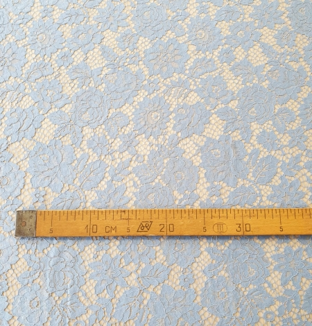 Light blue floral pattern guipure lace fabric. Photo 8