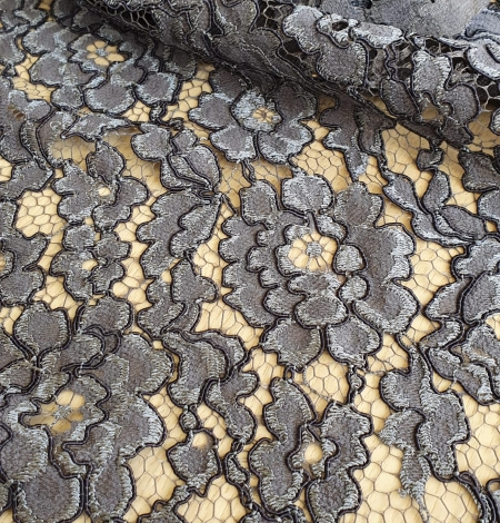 Grey floral pattern cord thread guipure lace fabric. Photo 3