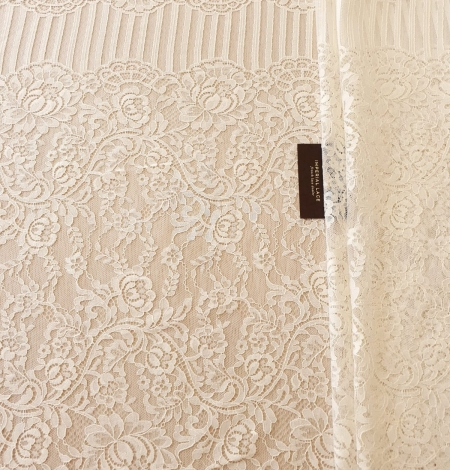 Ecru 100% polyester floral and stripes guipure lace fabric. Photo 8