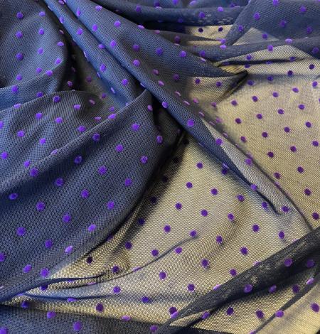 Elastīgs tumši zils tills ar ceriņu krāsas pumpiņām. Photo 4