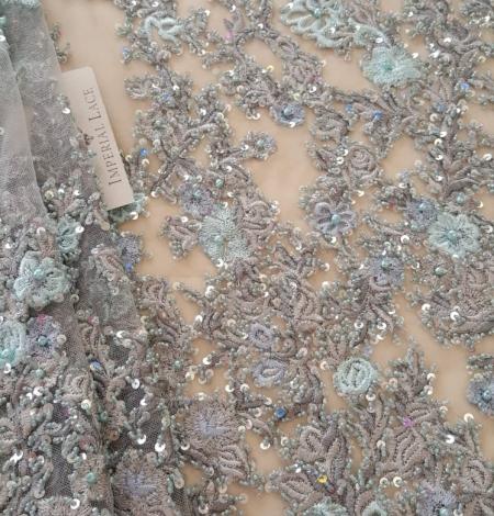 Pelēks pērļots izšūts mežģīņu audums. Photo 1