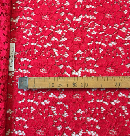 Red lace fabric. Photo 8