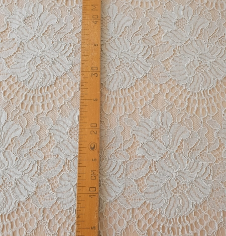 Light grey with bluish green guipure lace fabric. Photo 7
