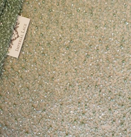 Zaļš pērļots mežģīņu audums. Photo 1