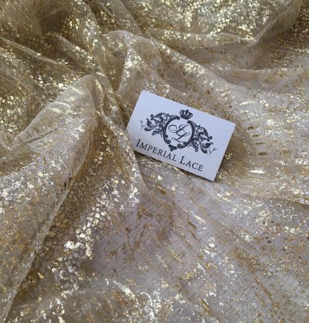 Miesas krāsas tilla audums ar zelta pārklājumu. Photo 1