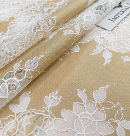 Dark beige lace fabric. Photo 4