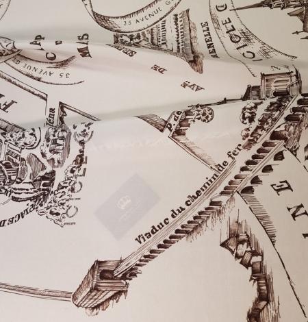 Ziloņkaula ar vecpilsētas zīmējumu ar tumši brūnu zīda crepe šifona audums. Photo 4