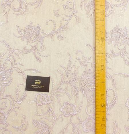 Veci rozā puķains raksta izšuvums ar fliteriem uz tilla auduma. Photo 9