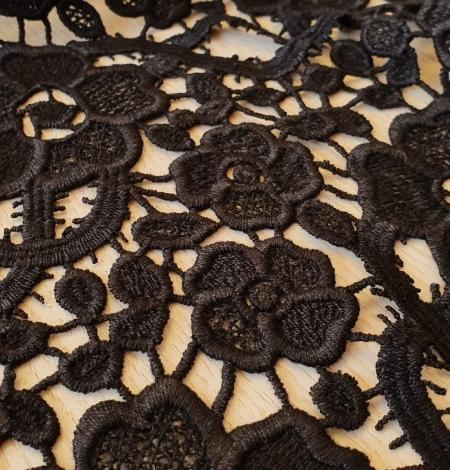 Black macrame lace fabric. Photo 5