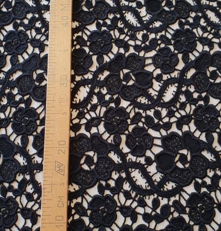 Black macrame lace fabric. Photo 6