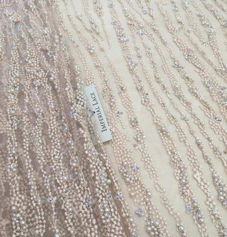 Persiku krāsas pērļots nežģīņu audums. Photo 2