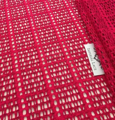 Raspberry red lace fabric. Photo 6
