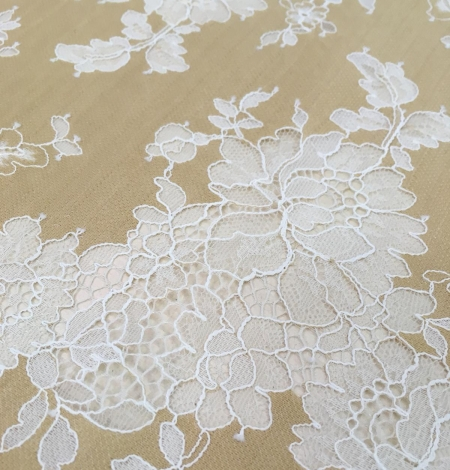 Dark beige lace fabric. Photo 8
