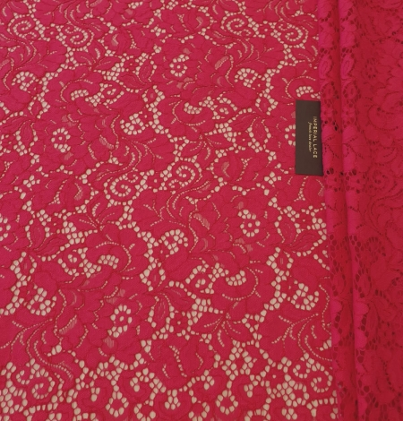 Raspberry pink 100% polyester floral pattern guipure lace fabric. Photo 6