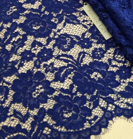 Karaliski zila puķaina biezs mežģīņu audums. Photo 1