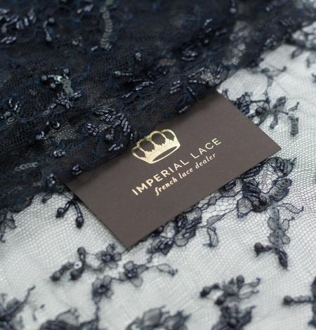 Zili melna ar rokām pērļota chantilly mežģīņu mala. Photo 1