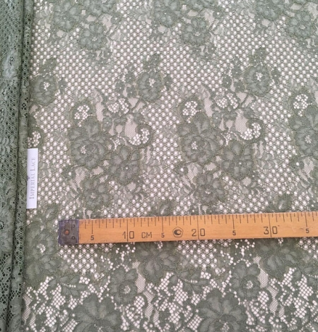 Khaki lace fabric. Photo 7