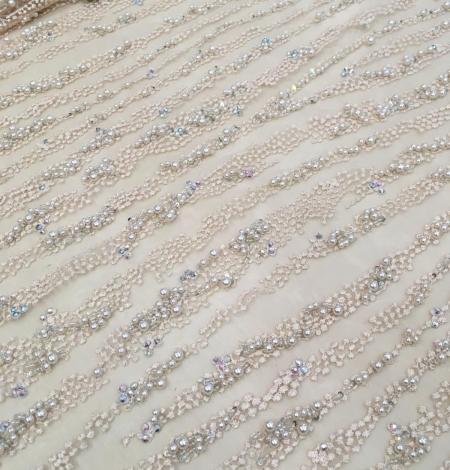 Persiku krāsas pērļots nežģīņu audums. Photo 6