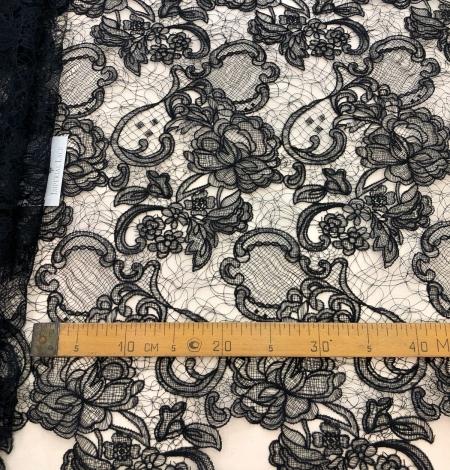 Black macrame lace fabric. Photo 8