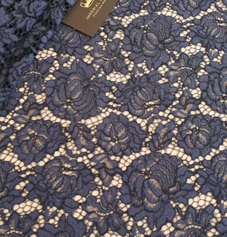 Bluish grey cotton polyester chantilly lace fabric . Photo 1