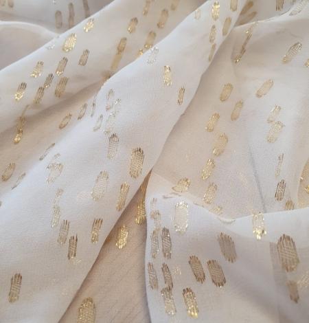 Ziloņkaula ar zelta deteļām zīda crepe šifona audums. Photo 2