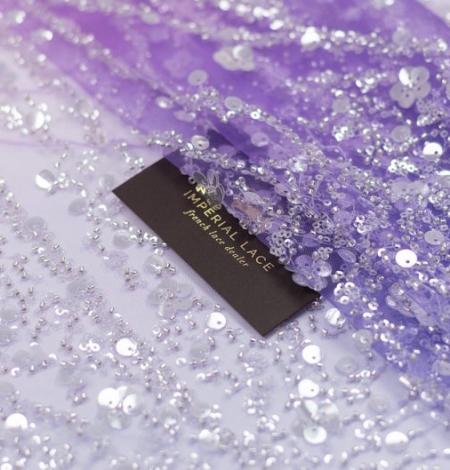 Lillā ombre pērļots izšuvums uz tilla auduma. Photo 2