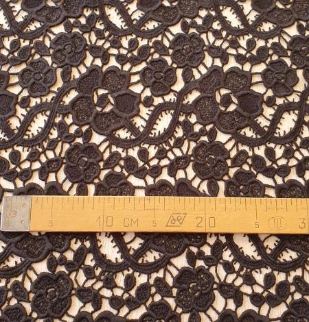 Black macrame lace fabric. Photo 7