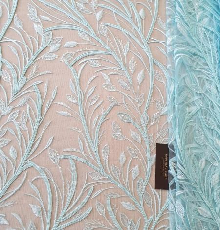 Tiffany zils lapu raksta izšuvums uz tilla auduma. Photo 5