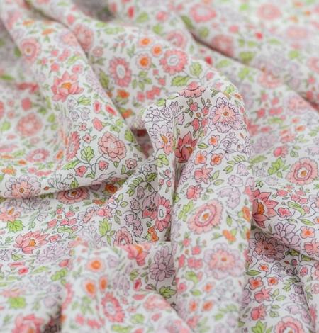 Daudzkrāsains ziedu raksta zīda krepa audums. Photo 4