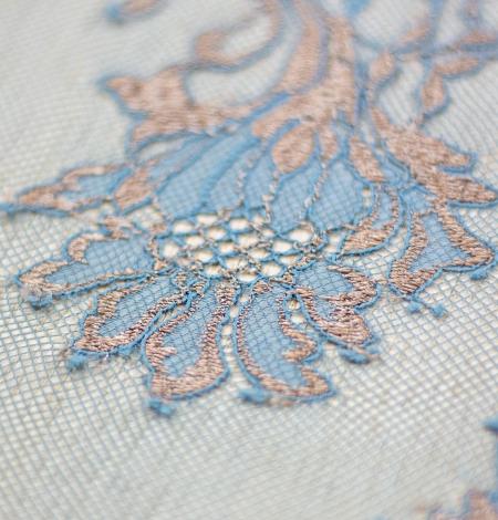 Tirkīza ar bronzu ziedu raksta chantilly mežģīņu audums. Photo 3