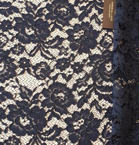 Dark blue guipure lace fabric. Photo 6
