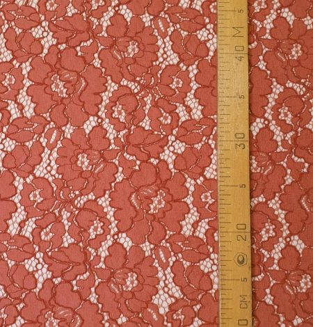 Redish brown guipure lace fabric. Photo 5