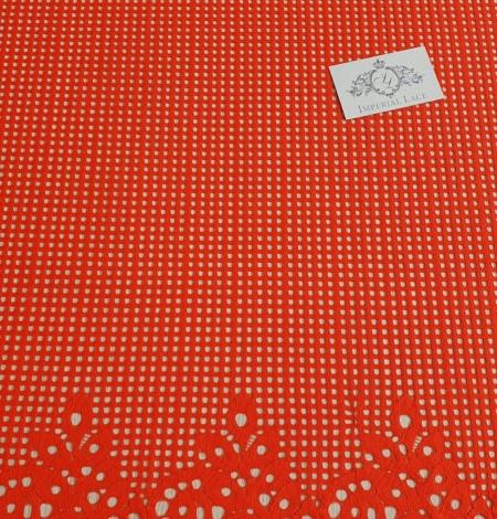 Orange red guipure lace fabric. Photo 2