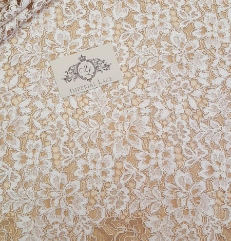 Ivory with Brown Lace Fabric. Photo 2