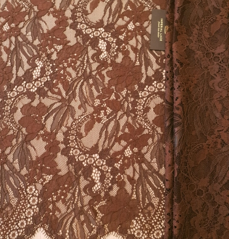Brown floral pattern guipure lace fabric. Photo 5