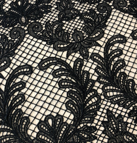 Black macrame thick guipure lace fabric. Photo 4