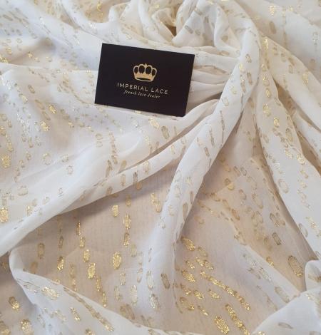 Ziloņkaula ar zelta deteļām zīda crepe šifona audums. Photo 3
