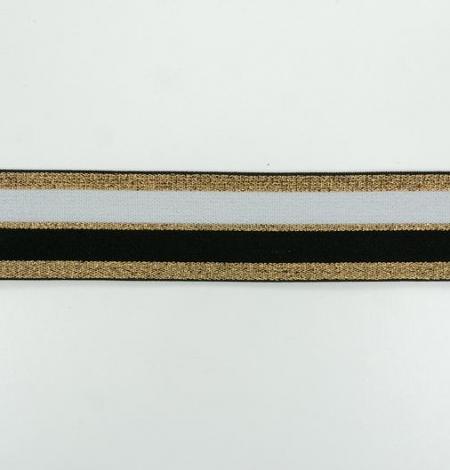 Melna ar zeltu un baltu elastīgā lenta. Photo 2