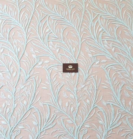 Tiffany zils lapu raksta izšuvums uz tilla auduma. Photo 6