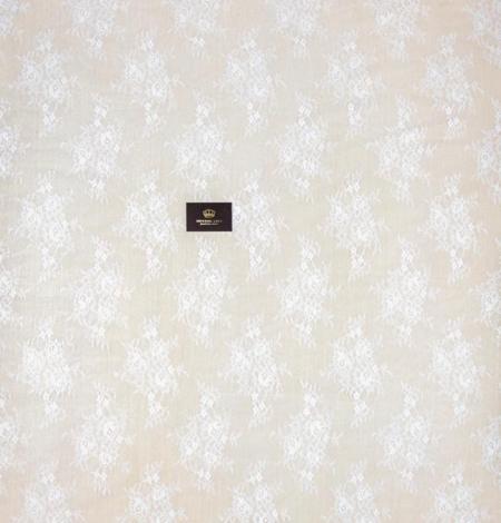 Piena balta ziedu raksta chantilly mežģīņu audums. Photo 9