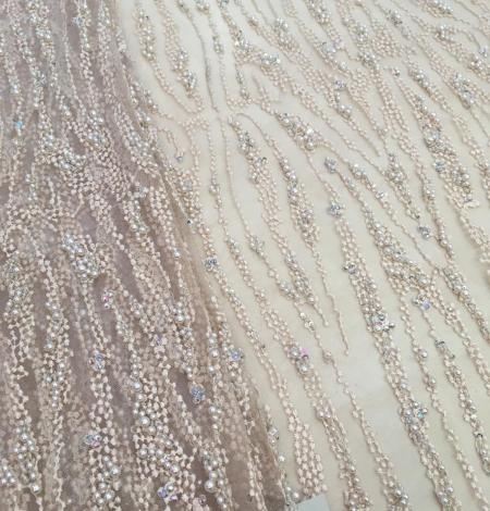 Persiku krāsas pērļots nežģīņu audums. Photo 1