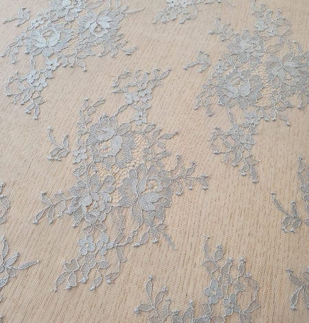 Zili pelēka Puķaina Cantilly mežģīne. Photo 5