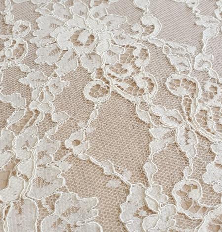 Champagne guipure lace fabric. Photo 3