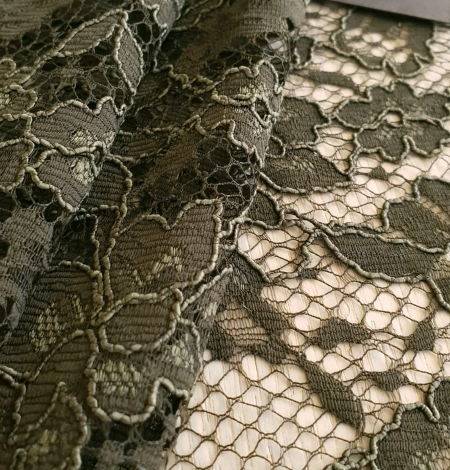 Dark haki green guipue lace fabric. Photo 3