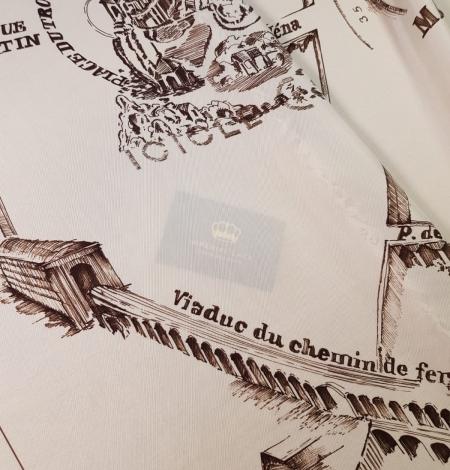 Ziloņkaula ar vecpilsētas zīmējumu ar tumši brūnu zīda crepe šifona audums. Photo 3