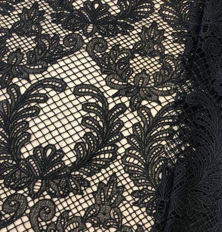 Black macrame thick guipure lace fabric. Photo 1