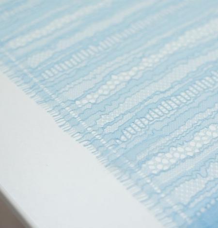 Gaiši zils abstrakts līniju chanttilly mežģīņu audums. Photo 3