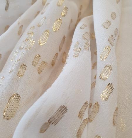 Ziloņkaula ar zelta deteļām zīda crepe šifona audums. Photo 9