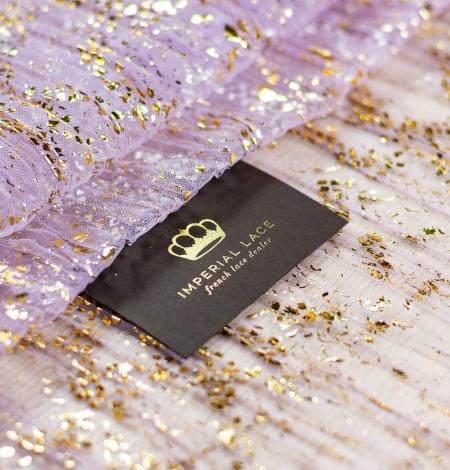 Lillā ar zelta foliju gofrēts tilla audums. Photo 1